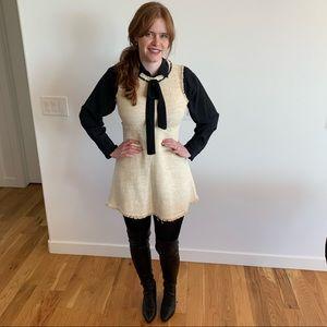 Zara frayed tweed ecru mini dress with tie